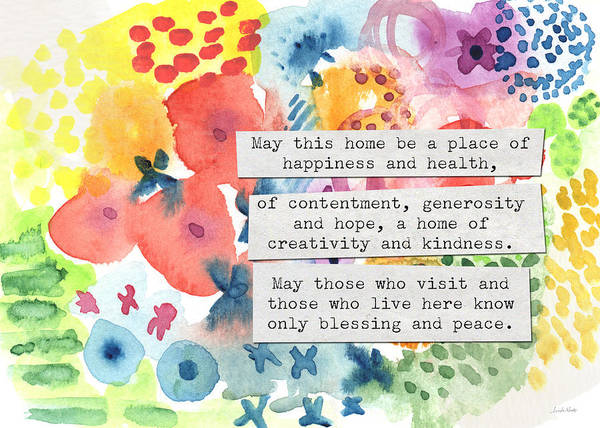 New Home Painting - Jewish Home Blessing- Floral Watercolor by Linda Woods
