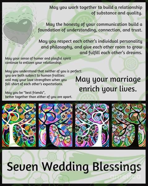 Shofar Wall Art - Painting - Jewish Seven Wedding Blessings Tree Of Life Hamsas by Sandra Silberzweig