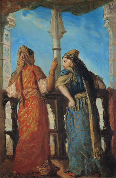 African Women Painting - Jewish Women At The Balcony In Algiers by Theodore Chasseriau
