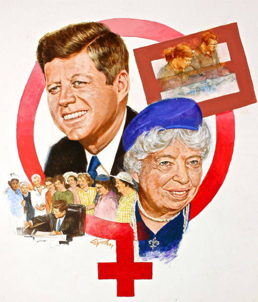 Painting - Jfk And Elenore Roosevelt  by Cliff Spohn