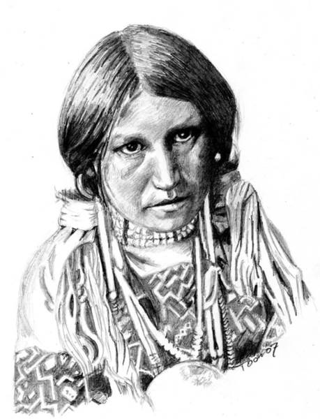 Drawing - Jicarilla Apache Girl by Toon De Zwart
