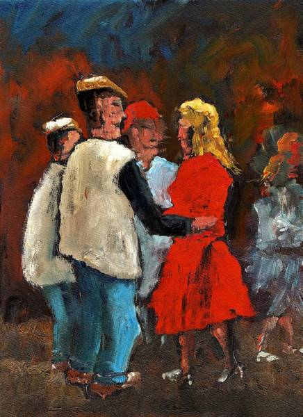 Painting - F 734 Round De Floor With Yer Trotters Shake by Val Byrne