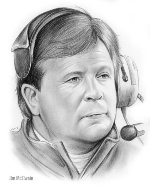 Football Drawing - Jim Mcelwain by Greg Joens