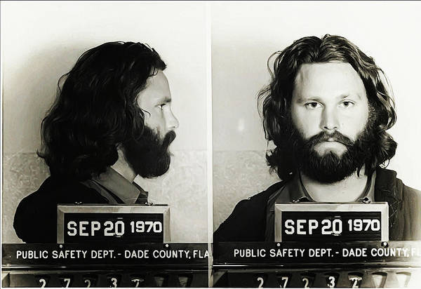 Lizard Photograph - Jim Morrison Mugshot by Digital Reproductions