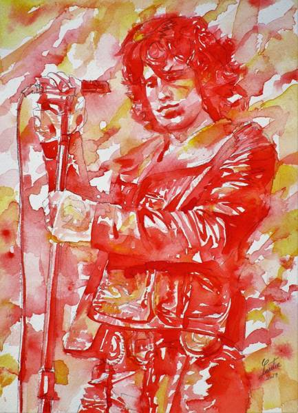 Wall Art - Painting - Jim Morrison - The Doors - Watercolor Portrait.10 by Fabrizio Cassetta
