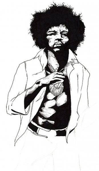 Weeds Drawing - Jimi Hendrix by Elliott Danger James