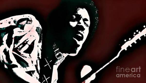 Purple Haze Digital Art - Jimi Hendrix - Graphic Art Red by Ian Gledhill
