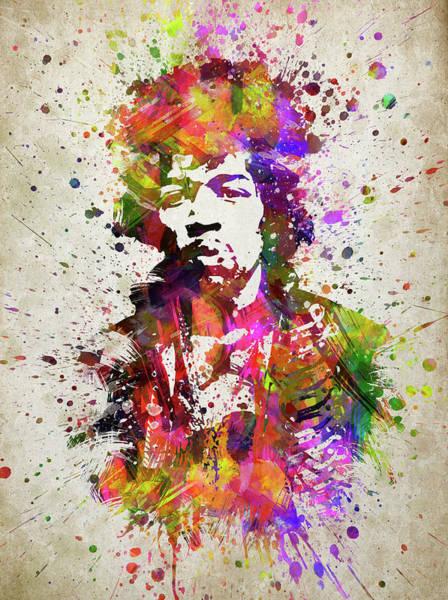 Celeb Wall Art - Digital Art - Jimi Hendrix In Color by Aged Pixel