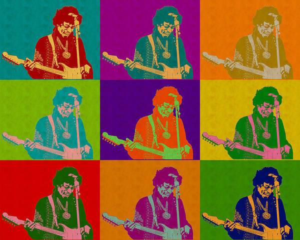 Digital Art - Jimi Hendrix In The Style Of Andy Warhol by Anthony Murphy