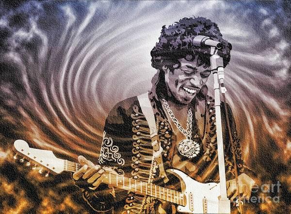 Purple Haze Digital Art - Jimi Hendrix - Legend by Ian Gledhill