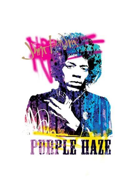 Classic Rock Mixed Media - Jimi- Purple Haze by Art Popop