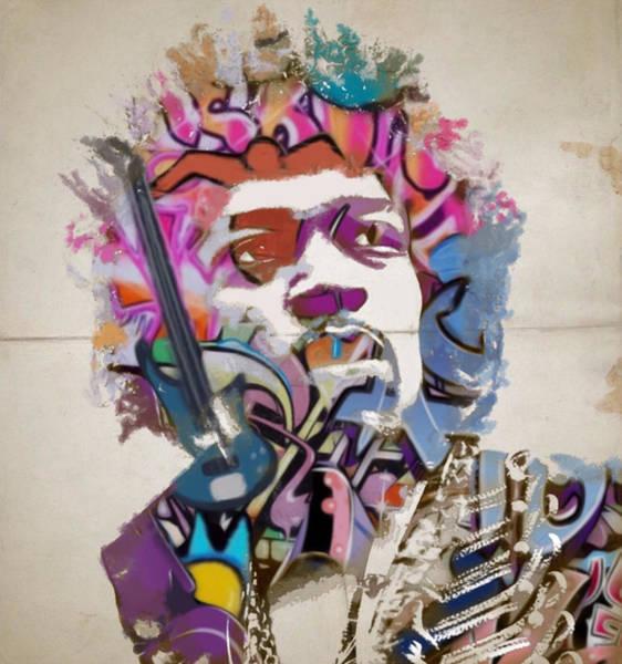 Urban Legend Digital Art - Jimi Hendrix by Sara Sutton