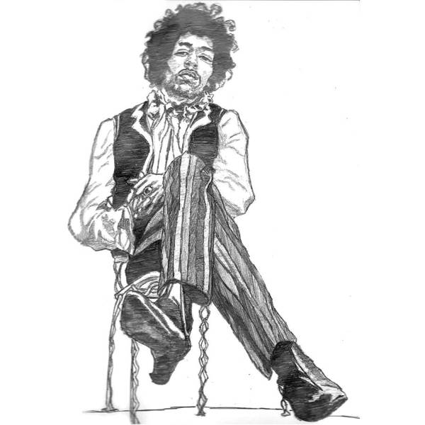 Pencil Wall Art - Painting - Jimi by Rachel Natalie Rawlins