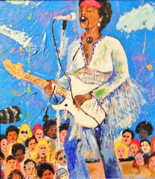Gitar Painting - Jimi Star Spangle Banner Woodstock On Wood by Marvin Pike