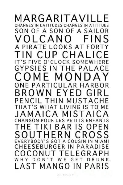 Wall Art - Photograph - Jimmy Buffett Concert Set List Black Font On White by John Stephens