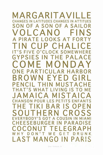 Wall Art - Photograph - Jimmy Buffett Concert Set List Gold Font On White by John Stephens