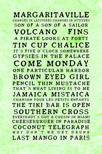 Wall Art - Photograph - Jimmy Buffett Concert Set List Old Style Black Font On Green Parchment by John Stephens