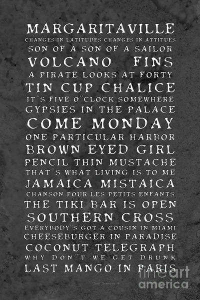 Wall Art - Photograph - Jimmy Buffett Concert Set List Old Style Embossed White Font On Charcoal Parchment by John Stephens