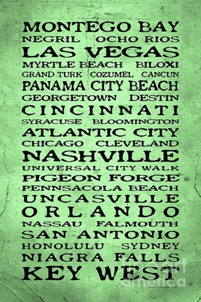 Wall Art - Photograph - Jimmy Buffett Margaritaville Locations Black Font On Dirty Green Texture by John Stephens