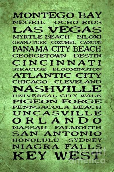 Wall Art - Photograph - Jimmy Buffett Margaritaville Locations Black Font On Dirty Green Yellow Texture by John Stephens
