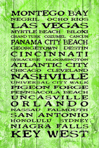 Wall Art - Photograph - Jimmy Buffett Margaritaville Locations On Lime Green Tropical Design by John Stephens