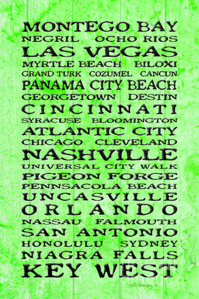 Wall Art - Photograph - Jimmy Buffett Margaritaville Locations Black Font On Rustic Boards In Lime Green by John Stephens