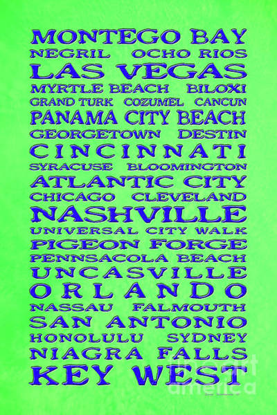 Wall Art - Photograph - Jimmy Buffett Margaritaville Locations Blue On Lime Green by John Stephens