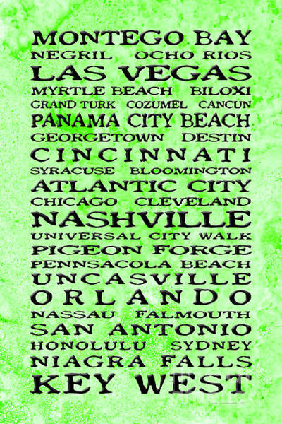 Wall Art - Photograph - Jimmy Buffett Margaritaville Locations Black Font On Lime Green Texture by John Stephens
