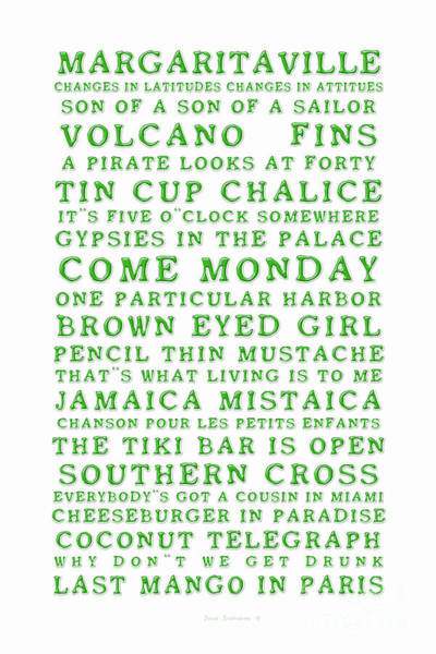Wall Art - Photograph - Songs You Know By Heart Jimmy Buffett Concert Set List Old Style Embossed Green Font On White by John Stephens