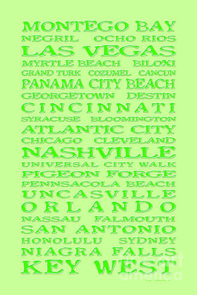 Wall Art - Photograph - Jimmy Buffett Margaritaville Locations Green On Key Lime by John Stephens