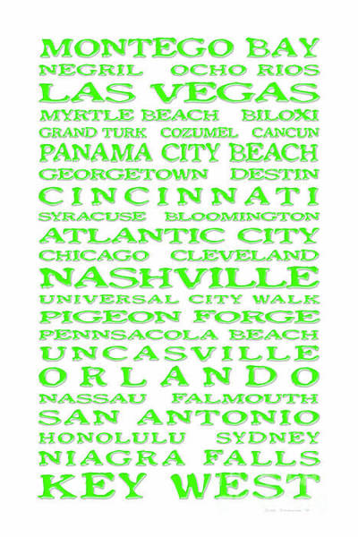 Wall Art - Photograph - Jimmy Buffett Margaritaville Locations Green On White by John Stephens
