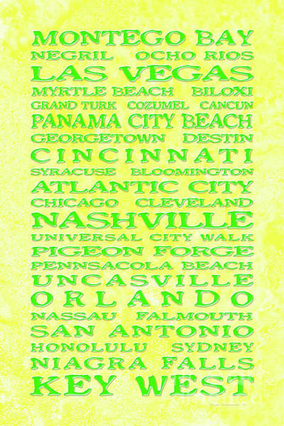 Wall Art - Photograph - Jimmy Buffett Margaritaville Locations Green On Yellow Parchment by John Stephens