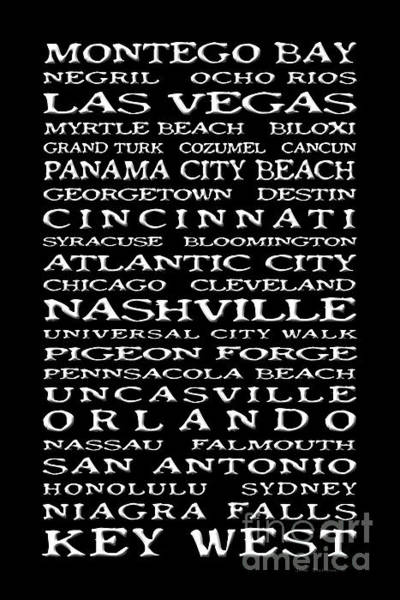 Wall Art - Photograph - Jimmy Buffett Margaritaville Locations White On Black by John Stephens