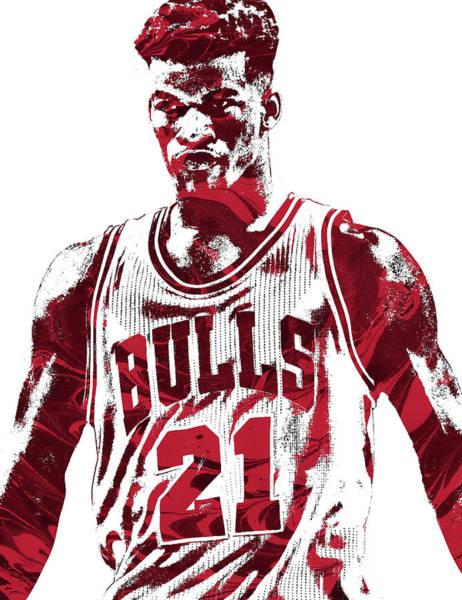 Chicago Bulls Wall Art - Mixed Media - Jimmy Butler Chicago Bulls Pixel Art 2 by Joe Hamilton