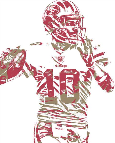 Wall Art - Mixed Media - Jimmy Garoppolo San Francisco 49ers Pixel Art 1 by Joe Hamilton