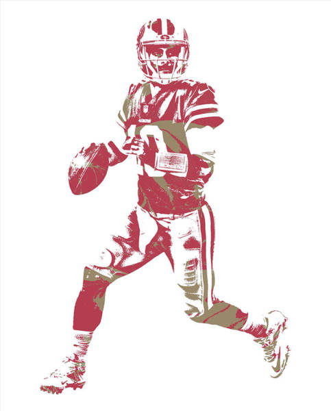 Wall Art - Mixed Media - Jimmy Garoppolo San Francisco 49ers Pixel Art 2 by Joe Hamilton