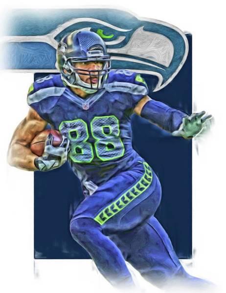 Seattle Seahawks Wall Art - Mixed Media - Jimmy Graham Seattle Seahawks Oil Art by Joe Hamilton