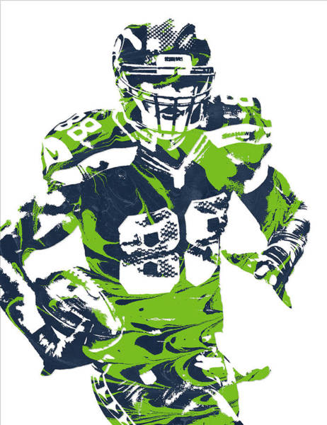 Wall Art - Mixed Media - Jimmy Graham Seattle Seahawks Pixel Art 10 by Joe Hamilton