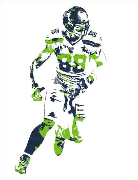 Wall Art - Mixed Media - Jimmy Graham Seattle Seahawks Pixel Art 12 by Joe Hamilton