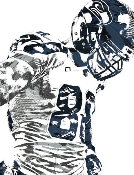 Wall Art - Mixed Media - Jimmy Graham Seattle Seahawks Pixel Art 2 by Joe Hamilton