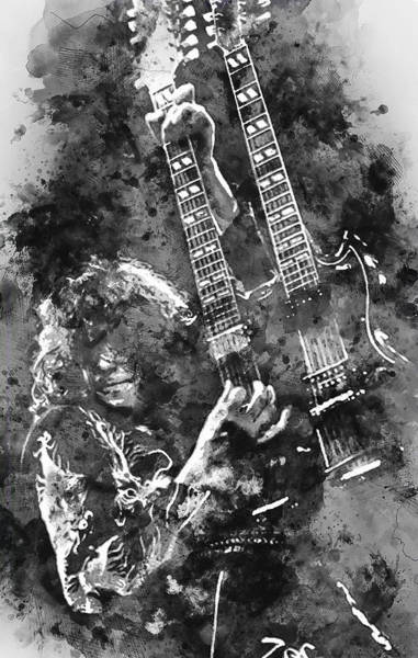Rock And Roll Jimmy Page Wall Art - Painting - Jimmy Page - 02 by Andrea Mazzocchetti