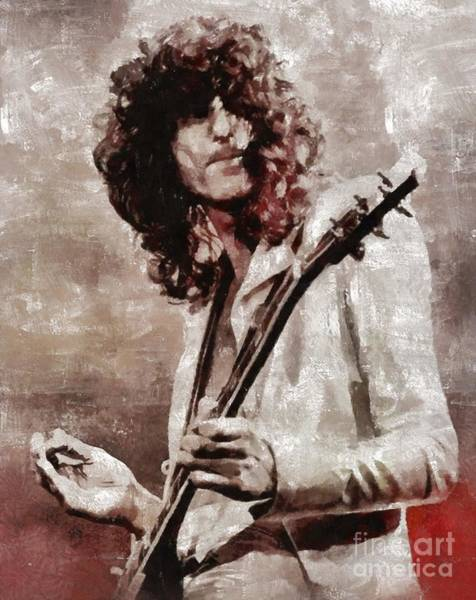 Rock Music Jimmy Page Wall Art - Painting - Jimmy Page By Mary Bassett by Mary Bassett