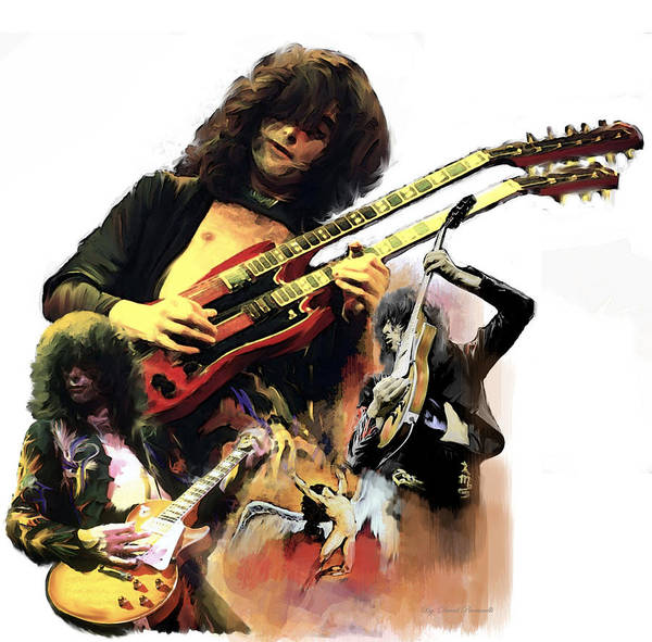 Jimmy Page Painting - Jimmy Page  Echoes Of Pompeii by Iconic Images Art Gallery David Pucciarelli