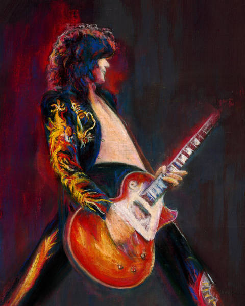 Rock Music Jimmy Page Wall Art - Pastel - Jimmy Page by Laurie VanBalen