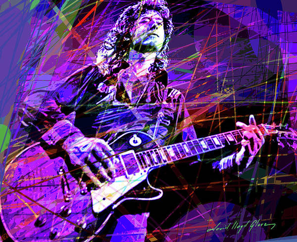 Electric Blues Painting - Jimmy Page Solos by David Lloyd Glover