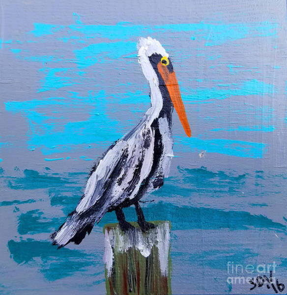 Gulf Shores Alabama Painting - Jimmy The Bayou Pelican - Coastal Abstract by Scott D Van Osdol