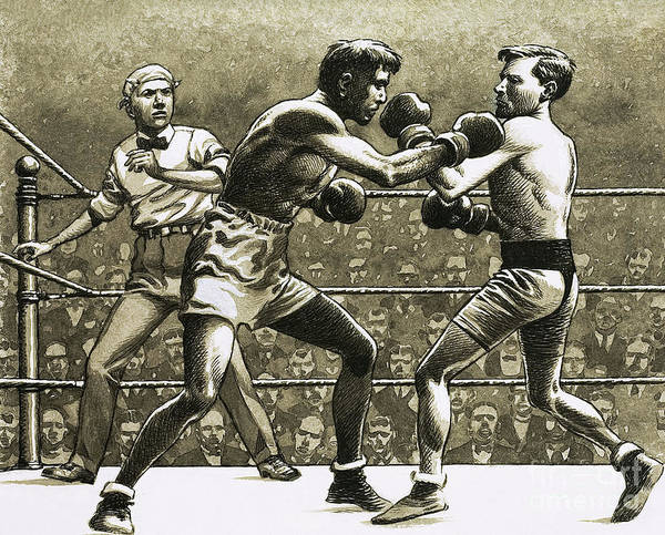 Boxing Painting - Jimmy Wilde Boxing Pancho Villa In New York by Pat Nicolle