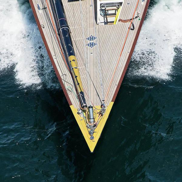 Racing Yacht Photograph - Jk7 Velsheda Bow by Katherine Gendreau