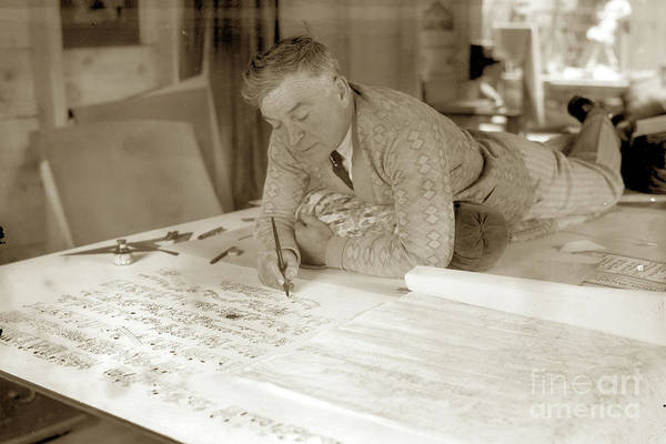 Photograph - Jo Mora Working On His California Carte 1927 by California Views Archives Mr Pat Hathaway Archives