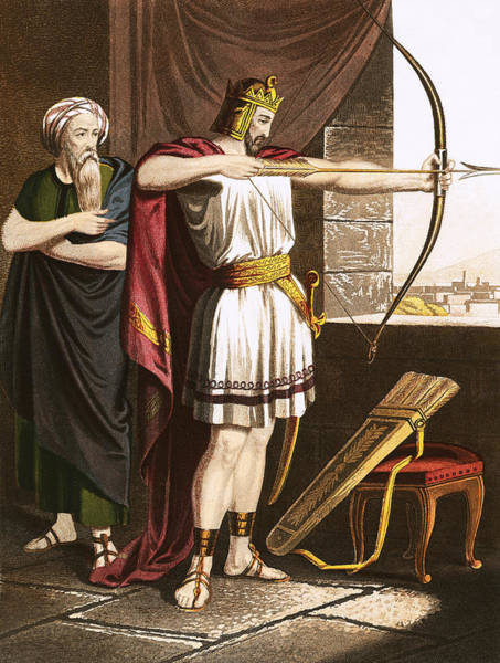 Aim Painting - Joash Shooting Arrows At The Command Of Elisha by English School